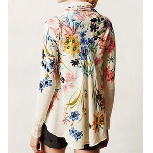 Anthropologie Knitted and Knotted Floral Cardigan